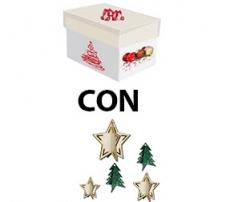 Kit scatola regalo + addobbi in cartoncino 3d