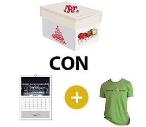 Kit scatola regalo + calendario 13 fogli da muro + tshirt basic uomo/donna